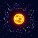Sun umgab Sternzeichen, den Hintergrund des nächtlichen Himmels, realistisch stock abbildung
