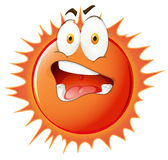 Sun with uncomfortable facial expression. Illustration Stock Photo