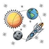Sun und Erde mit Quecksilber- und Raketenerforschung lizenzfreie abbildung