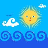 Sun und gewelltes Meer vektor abbildung