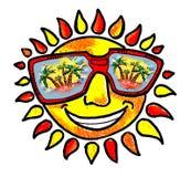 Sun und Himmel und Sonnenbrand und Rest Lizenzfreies Stockfoto