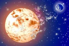 Sun und Land im Weltraum Lizenzfreie Stockfotos