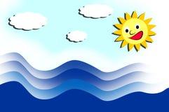 Sun und Meer mit Wellen Lizenzfreie Stockfotografie