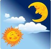 Sun und Mond Lizenzfreies Stockbild