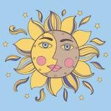 Sun und Mond in einem Gesicht vektor abbildung