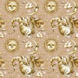 Sun und Mond-nahtloses Muster Aquarellillustrationssatz himmlische Symbole, Sonne, Mond, Stern, Drache, Eklipse mit menschlichen  stock abbildung