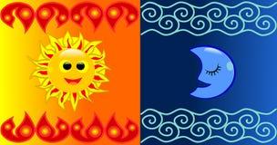 Sun und Mondhintergrund Lizenzfreie Stockbilder