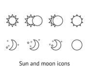 Sun-und Mondikonen Stockfoto