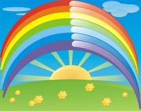 Sun und Regenbogen stock abbildung