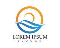 Sun- und Wasserwelle Logo Template-Vektorillustration entwerfen Stockbild