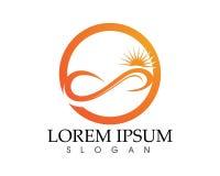 Sun- und Wasserwelle Logo Template-Vektorillustration entwerfen Stockfoto