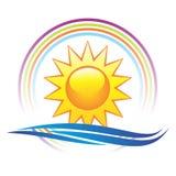 Sun und Wellenzeichen Stockfotos