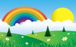 Sun und Wolken mit Regenbogenlandschaft Lizenzfreies Stockbild