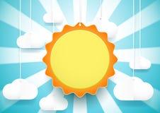 Sun und Wolkenhintergrund Papierkunst- und Handwerksart Lizenzfreies Stockfoto