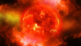 Sun in universe or space, sun and galaxy in a nebula cloud Stock Photos