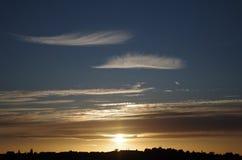 Sun unten Nottingham Großbritannien Stockfotos