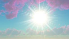 Sun unter den Wolken purpurrot stock abbildung