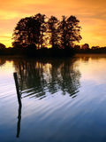 Sun-up – Sunrises. Sun-up in pond with trees and isle Stock Images