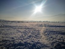 Sun is up. Sun and snow Stock Image