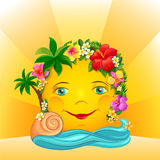 The Sun on Vacation. The sun, in a wreath of flowers, is having a swim on vacation Stock Photo