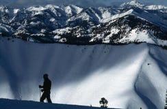 Sun Valley Skier. Skier in silhouette in Sun Valley, Idaho (USA Stock Photos