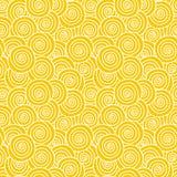 Sun Vanilla Swirls seamless background. Abstract yellow curls texture seamless background. Golden locks, seashells, suns or vanilla ice cream pattern Stock Image