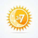 Sun vector icon. 24 hours and 7 days open sign. 24 hours and 7 days open sign. Sun vector icon Stock Image