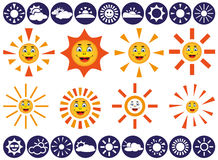 Sun vector icons. White icons on blue background weather. vector with image of sun Royalty Free Stock Images
