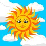 Sun. Vector illustration. Sun against the sky with clouds. Vector illustration Stock Photography