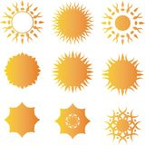 Sun vector logo template set Stock Images