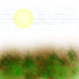 Sun vegetation. Abstract landscape of a sun shining green vegetation Royalty Free Stock Photo