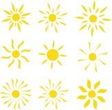 Sun-Vektorlogo-Schablonensatz Lizenzfreies Stockbild