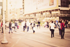 Sun vintage blur background of blurred people on street Royalty Free Stock Photo