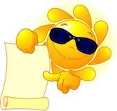 Sun visar en scroll Royaltyfri Bild