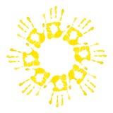 Sun von handprints Stockfotos