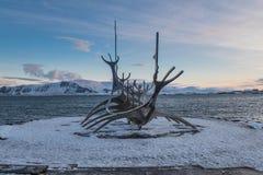 Sun Voyager Icelandic: Solfar, landmark sculpture of Reykjavik, Iceland Royalty Free Stock Photography
