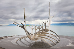 Sun Voyager monument, landmark of Reykjavik city Stock Image