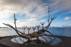 Sun Voyager monument by the sea in the center of Reykjavik, Icel Stock Photos