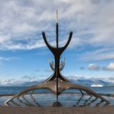 Sun Voyager monument by the sea in the center of Reykjavik, Icel Stock Photo