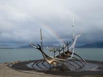 The Sun Voyager. Sólfar a famous sculpture in Reykjavík Stock Photography