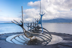 Sun Voyager sculpture often wrongly interpreted as a Viking ship Stock Image