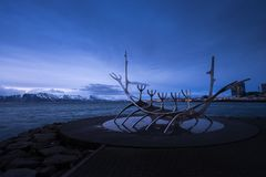 The Sun Voyager or Solfar sculpture, Iceland royalty free stock photos