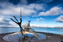 The Sun Voyager Solfar sculpture by Jon Gunnar Arnason on the. Reykjavik, Iceland - April 1, 2017: The Sun Voyager Solfar sculpture by Jon Gunnar Arnason on the Royalty Free Stock Images