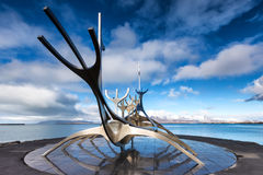 The Sun Voyager Solfar sculpture by Jon Gunnar Arnason on the. Reykjavik, Iceland - April 1, 2017: The Sun Voyager Solfar sculpture by Jon Gunnar Arnason on the Royalty Free Stock Image