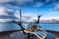 The Sun Voyager Solfar sculpture by Jon Gunnar Arnason on the Royalty Free Stock Image