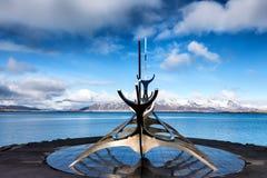 The Sun Voyager Solfar sculpture by Jon Gunnar Arnason on the. Reykjavik, Iceland - April 1, 2017: The Sun Voyager Solfar sculpture by Jon Gunnar Arnason on the Stock Photo