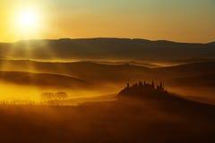 Sunlight on countryside landscape stock photo