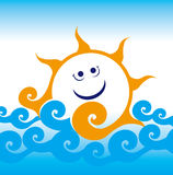 Sun in water. Sun sea wave sailing smile summer travel joy happiness blue rest vocation Stock Illustration