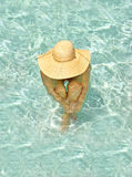 Sun-water-hat-woman Royalty Free Stock Photo