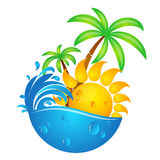 Sun, water waves and palms. Sun, water waves and palm trees design royalty free illustration